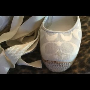 Coach Shoes - COACH Cream Espadrilles With Leg/Ankle Ribbons